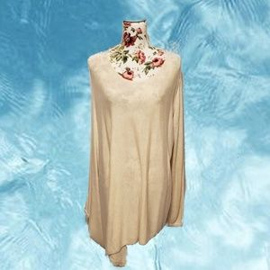 Cream One Sleeve Poncho Sweater